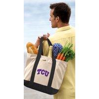 Texas Christian Tote Bag CANVAS Texas Christian Totes for TRAVEL BEACH SHOPPING