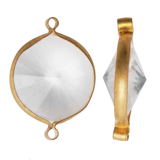 Vintage Lucite Antiqued Gold Toned Rivoli Pendant Link Crystal 22mm (6)