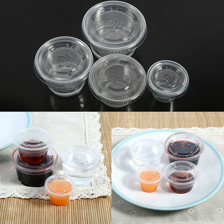 Cup Kitchen - Hilitand 50Pcs Disposable Plastic Condiment Sauce Cup Clear Chili Sauce Chutney Cups Boxes With Lid, Kitchen Party Banquet Plastic Chutney Cup