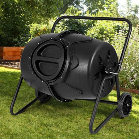 Costway 50 Gallon Wheeled Compost Tumbler Garden Waste Bin Grass Trash Barrel Fertilizer