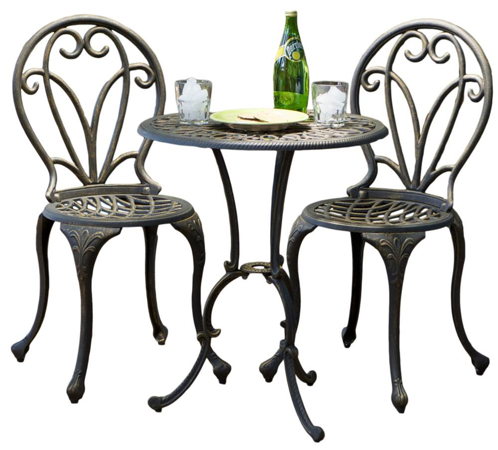 3-Pc Bistro Set in Dark Gold