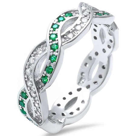 Sterling Silver Green Emerald & Cubic Zirconia Infinity Band Ring Sizes 4-11 - Rings That Light Up