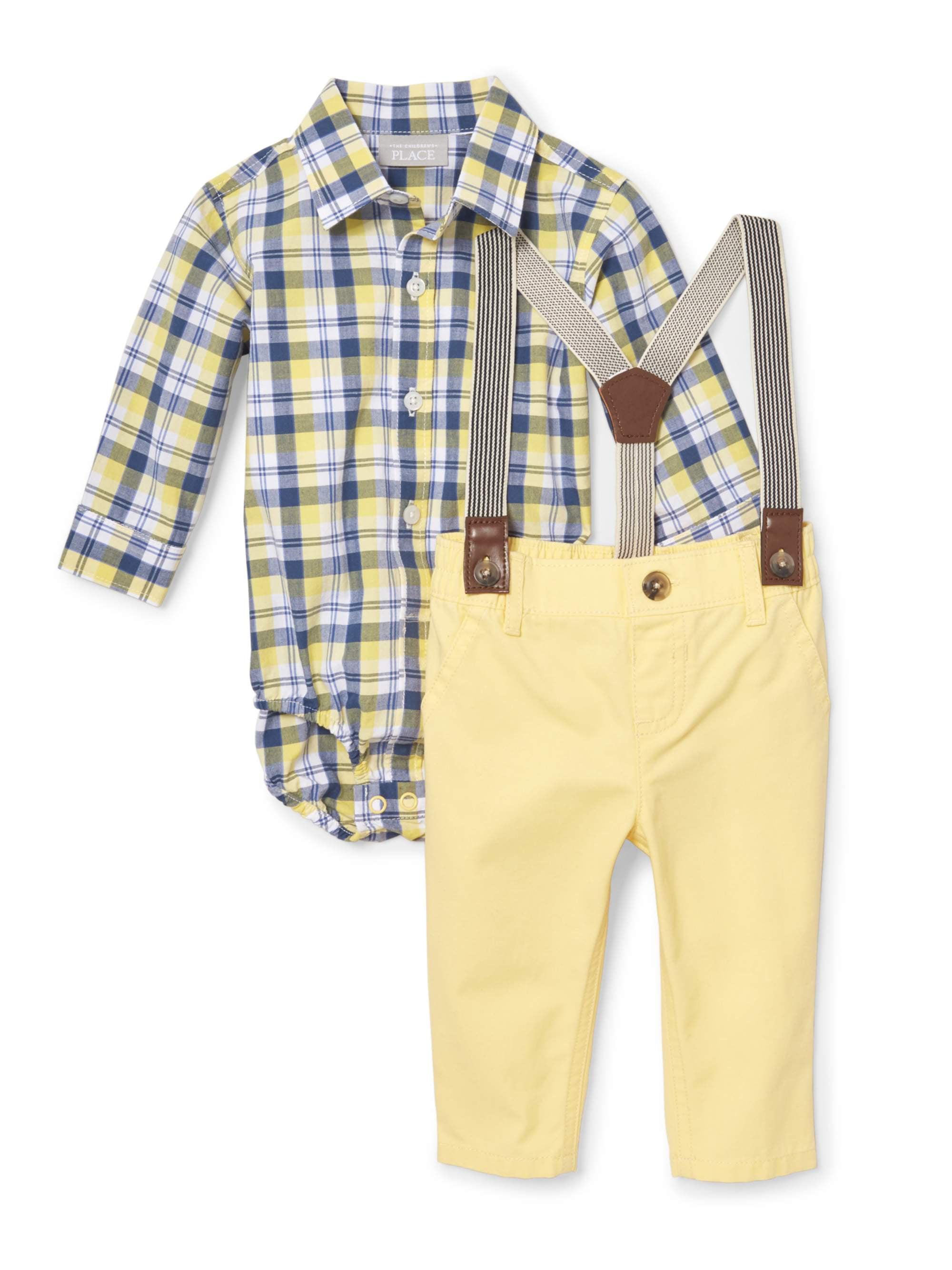 Plaid Suspender Pant Set (Baby Boys)