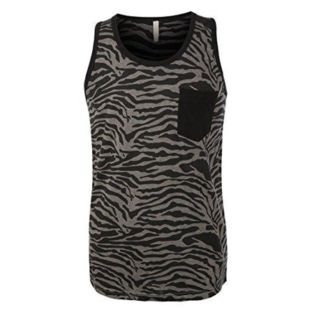 Hawks Bay Men's Ringer Tank Sleeveless T-Shirt Tee Animal Print Black Tiger Small