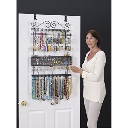 6100 Overdoor Wall Jewelry Organizer Valet in Black - Holds over 300 pieces! Unique patented product - Rated