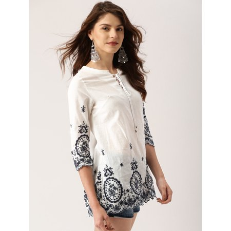 all about you from Deepika Padukone Women White Self Design Top - image 2 de 6