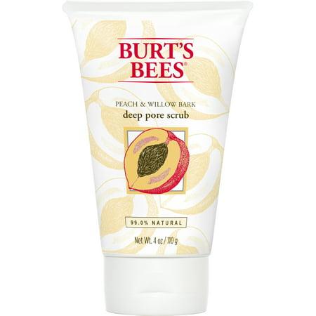 Burt's Bees Peach and Willow Bark Deep Pore Scrub, Exfoliating Facial Scrub, 4