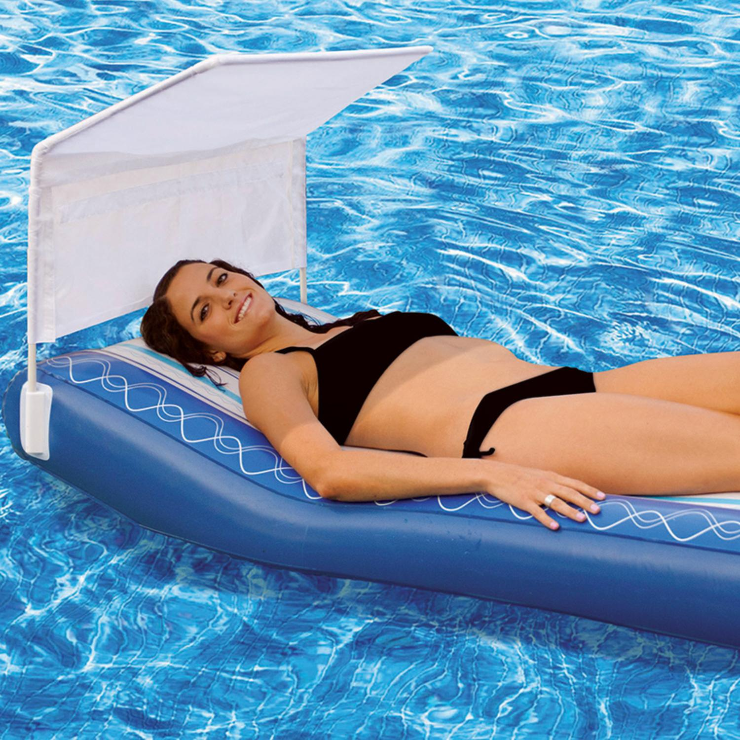 """75"""" Blue and White Inflatable Hampton Lounge Swimming Pool Mattress Float with Removable Sunshade by Swim Central"""