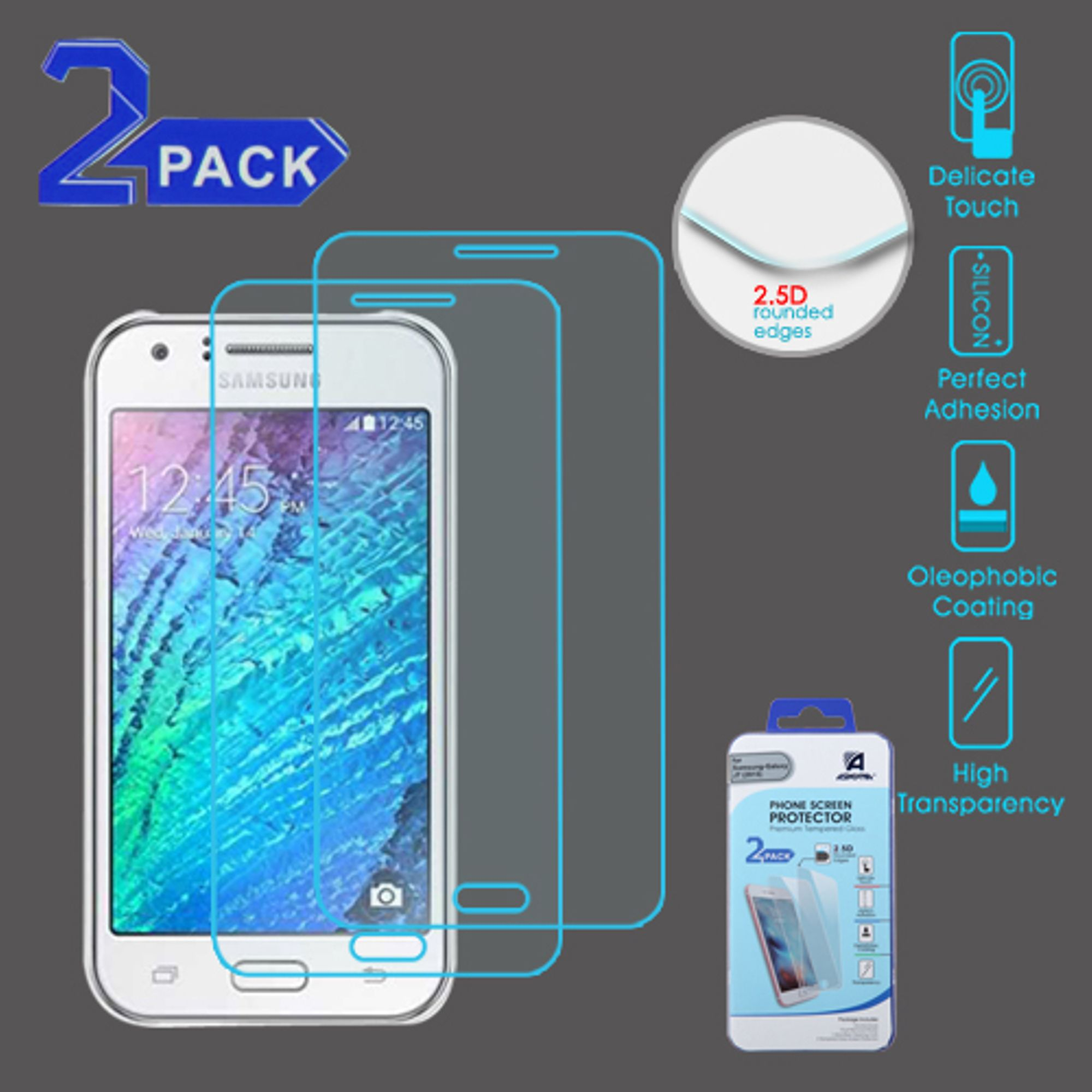 insten 2-Pack Clear Tempered Glass Screen Protector Guard For Samsung Galaxy J7 (2015/2016)