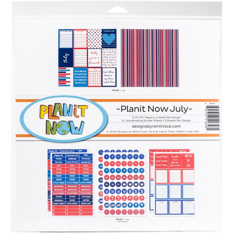 """Planit Now Planner Page Kit 12""""x12""""-july"""
