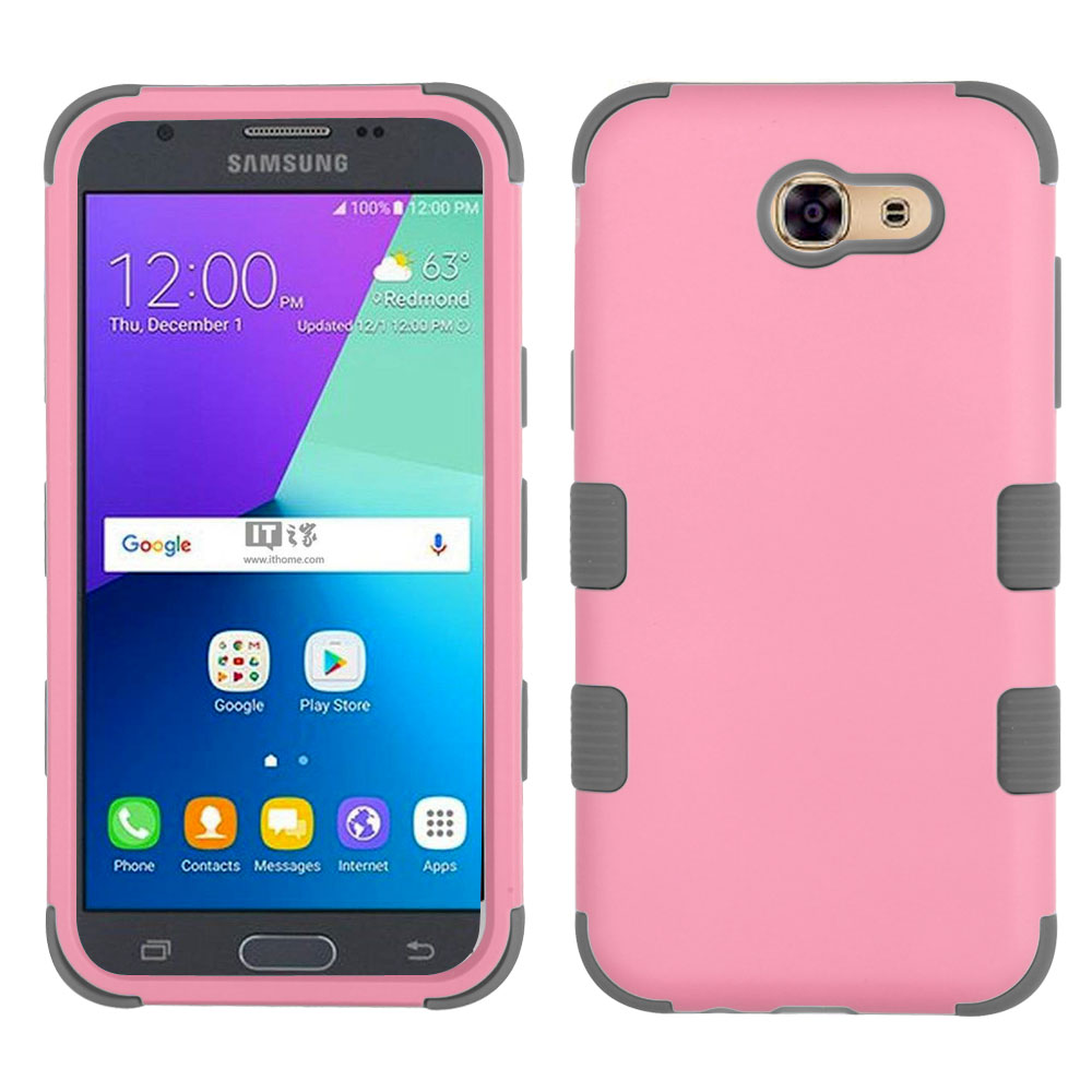 TUFF Series Military Grade Drop Tested Impact Resistant Hybrid Cover and Atom LED for Samsung Galaxy J3 (Luna Pro, J3 Prime, Eclipse, Emerge, Mission, Amp Prime 2, Sol 2) - Pink / Gray