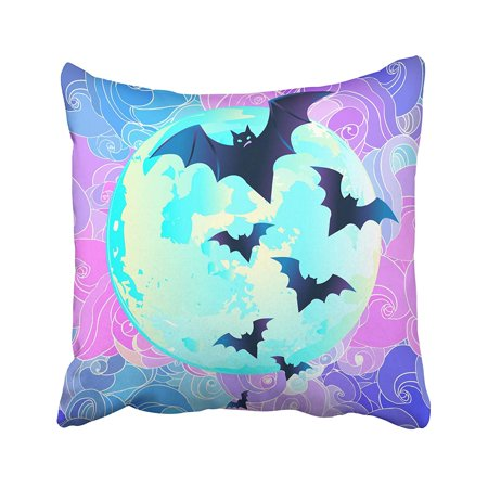 ARHOME Halloween Creepy Cute Bat Flying Against Full Moon in Neon Pastel Colors Retro Pillow Case Pillow Cover 16x16 inch Throw Pillow Covers](Cute And Creepy Halloween Makeup)