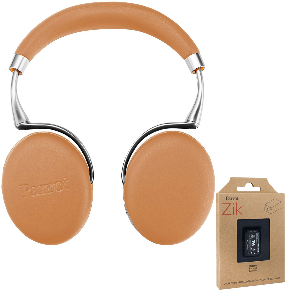 Parrot Zik 3 Wireless Noise Cancelling Bluetooth Headphones (Camel Leather-Grain)
