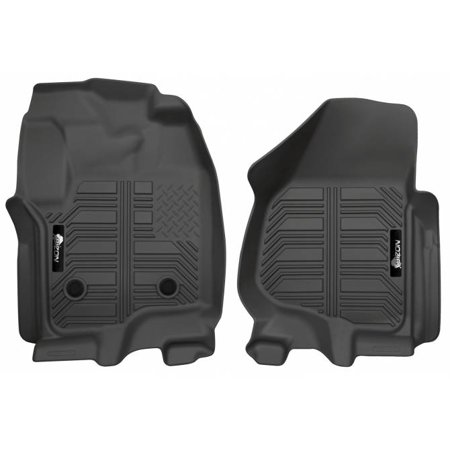 BIZON Laser Measured Floor Liners (fits) 2013-2016 Ford Super Duty F250 F350 F450 F550 Crew Cab and SuperCab w/o 4WD Floor Shifter Front Row 2 Piece Black Molded Floor Mats Made in the USA