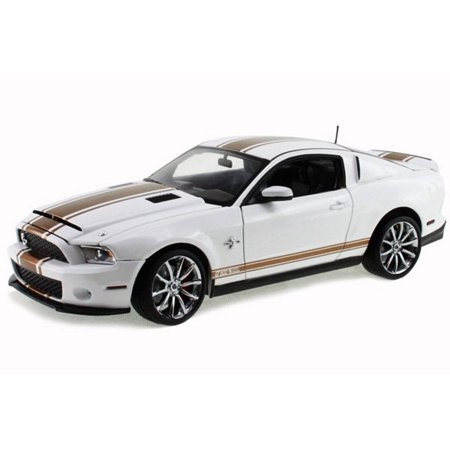 2012 Ford Shelby GT500 Super Snake, White w/ Gold Stripes - Shelby  SC322B - 1/18 Scale Diecast Model Toy