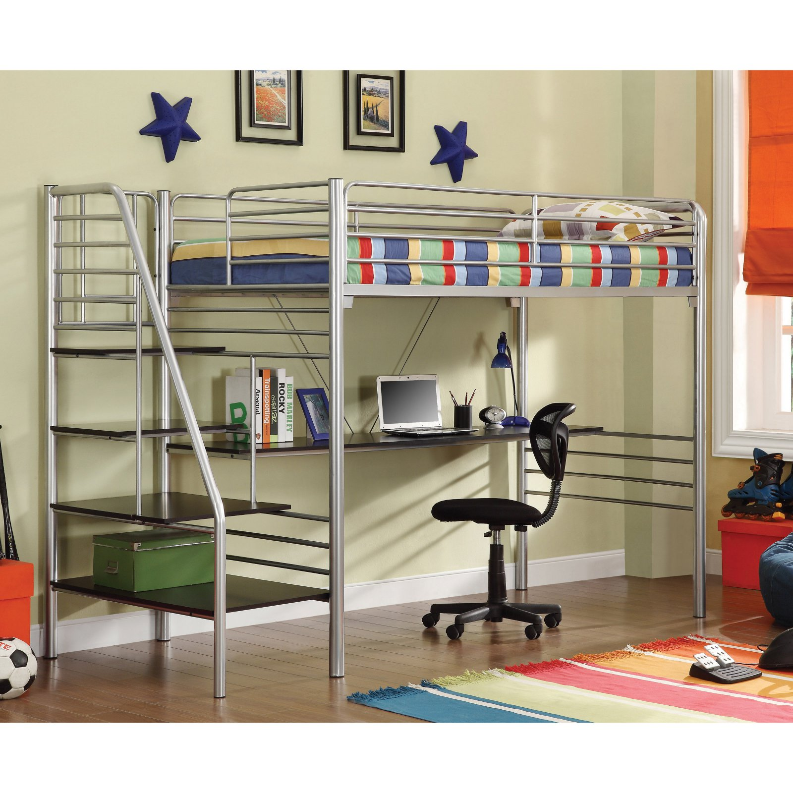 Donco Kids Twin Study Loft with Stairs - Silver