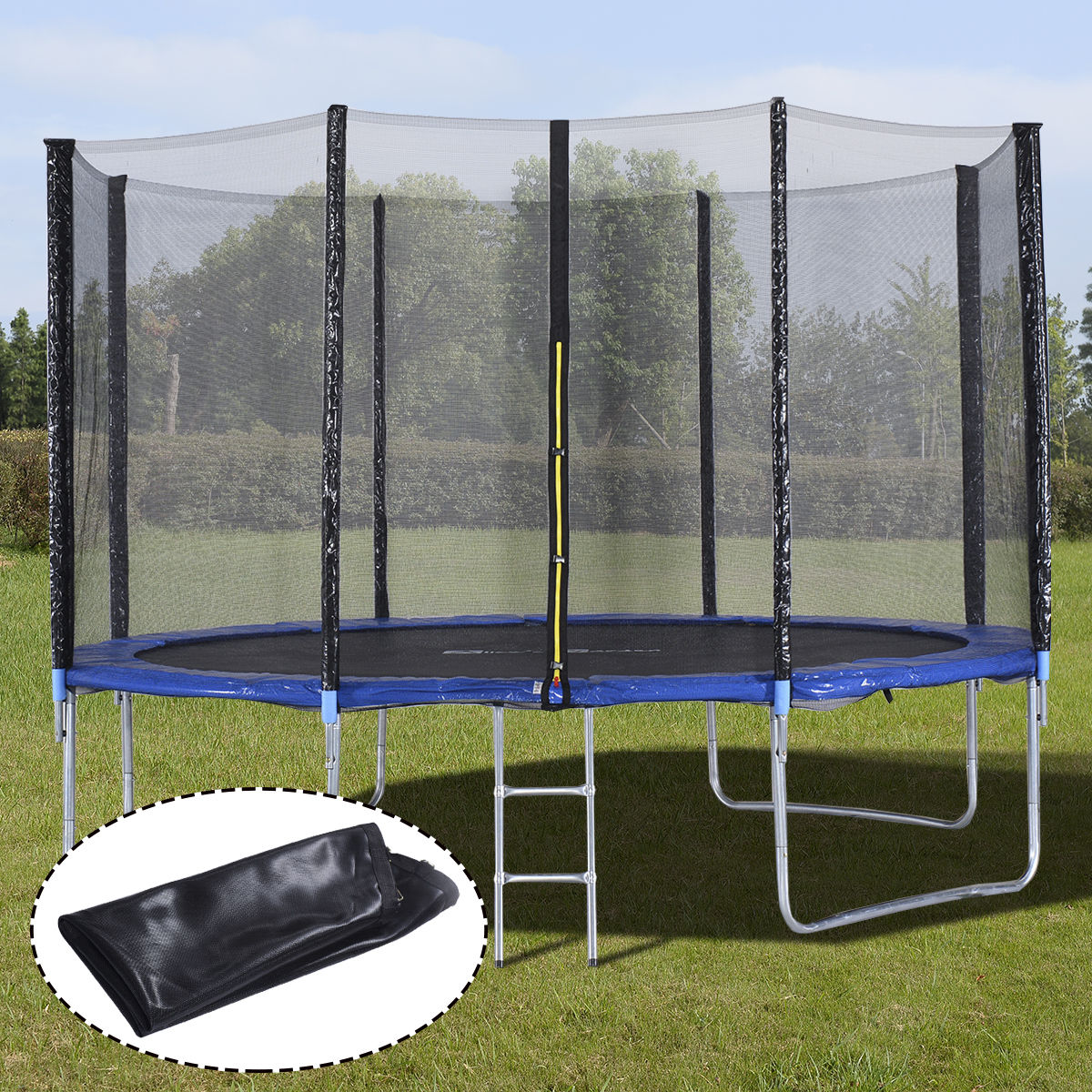 Costway 12FT Trampoline Combo Bounce Jump Safety Enclosure Net W/Spring Pad