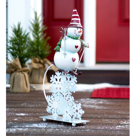 metal skiing snowman balancer indooroutdoor christmas decor accent