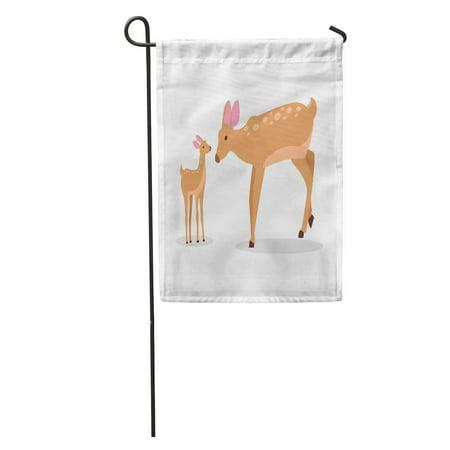 - KDAGR Adult Doe Little Fawn in Cartoon Deer Family on Mother Garden Flag Decorative Flag House Banner 12x18 inch