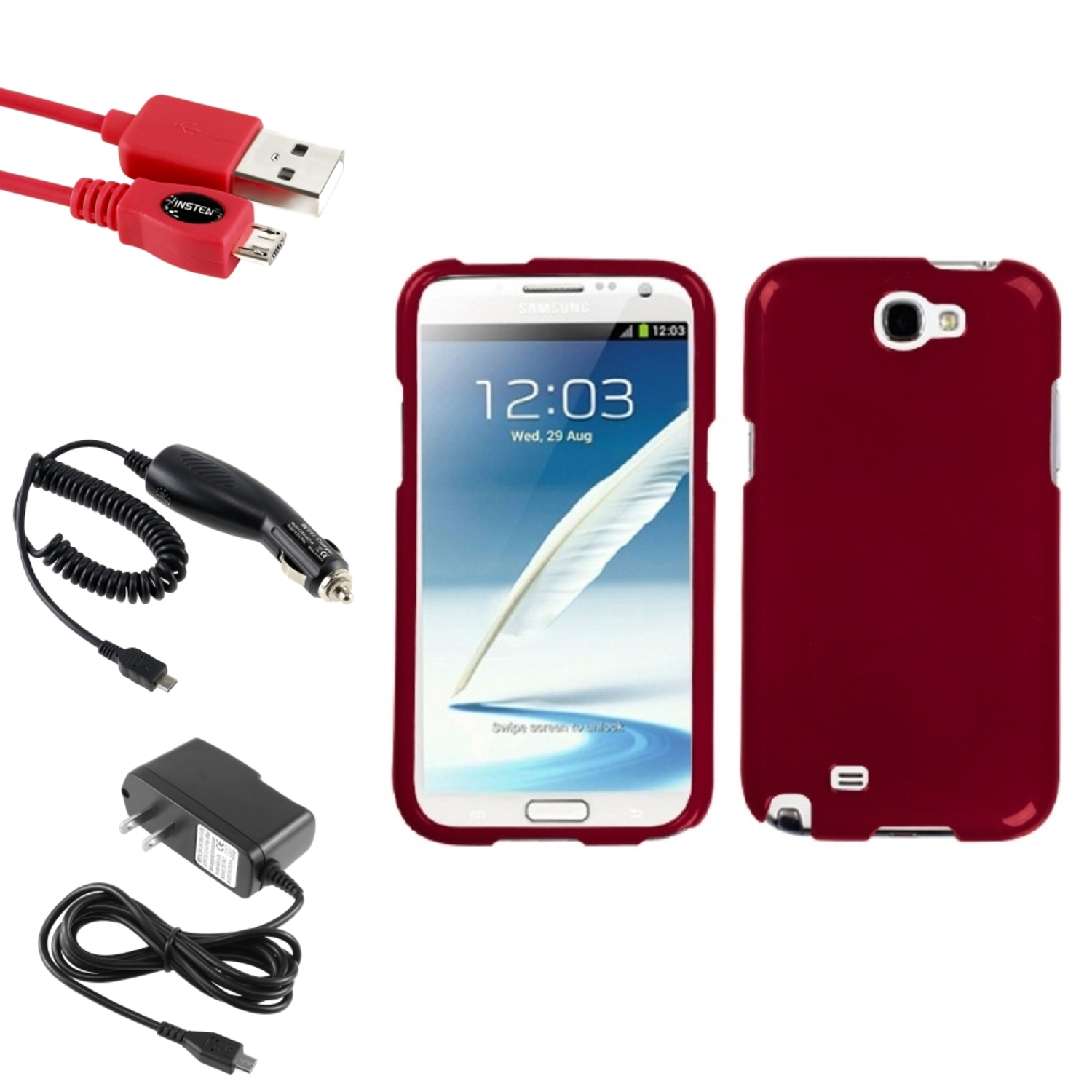 Insten Solid Red Hard Case+2x Charger+USB For Samsung Galaxy Note 2 II