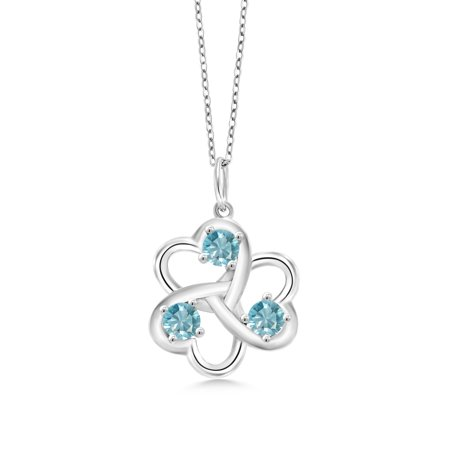1.50 Ct Round Blue Zircon 925 Sterling Silver 3 Hearts Interlock Pendant With Chain
