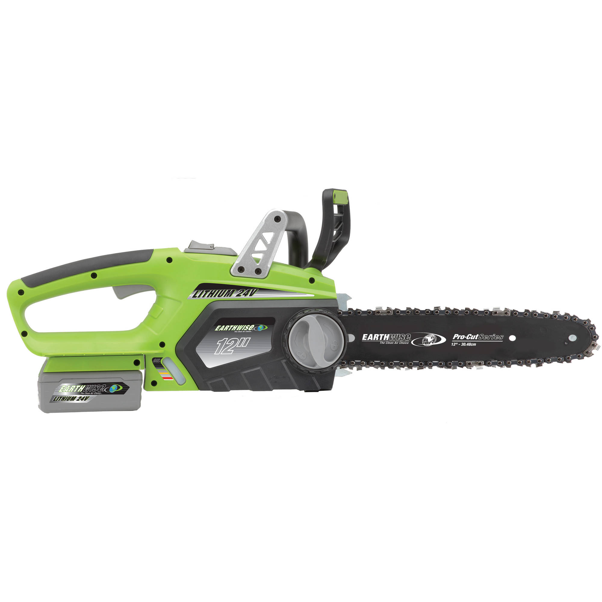 "Earthwise LCS32412 12"" 24-Volt Lithium Ion Cordless Electric Chain Saw (Battery and charger Included) by Great States Corporation"