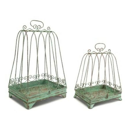 Pack of 2 New Romance Green Bird Cage Pillar Candle Holder Lanterns 18.5
