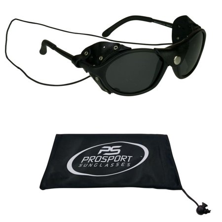 Leather Sunglasses Glacier with Side Shield and String, Polarized Lens Protects Against Wind & Debris
