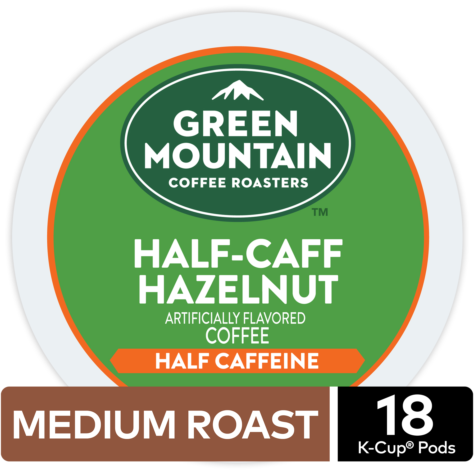 Green Mountain Coffee Half Caff Hazelnut, Flavored Keurig K-Cup Pod, Medium Roast, 18 Ct