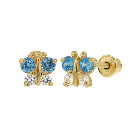 In Season Jewelry 14k Yellow Gold Butterfly Baby Girl Kids Screw
