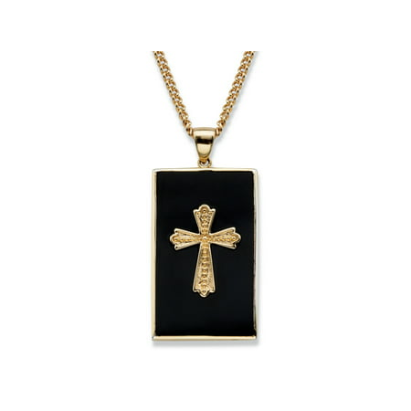 - Men's Genuine Black Onyx Cabochon Cross Pendant Necklace 14k Gold-Plated 22