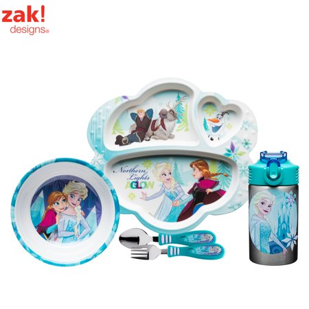 Disney's Frozen Anna & Elsa Plate, Bowl, Flatware & Water Bottle , 4-piece (Best Camping Plates And Bowls)
