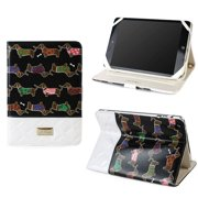 JAVOedge Quilted Dachshund Folio Case with Multi Angled Stand for the Apple iPad Mini, iPad Mini 2 with Retina (Black)