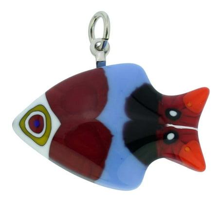 GlassOfVenice Murano Glass Millefiori Small Fish Pendant