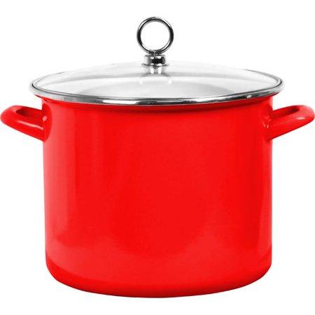 Calypso Basics, 8 Qt. Stock Pot w/ Glass Lid, Red