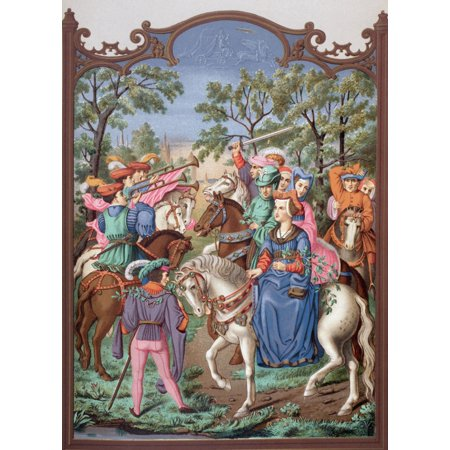 15Th Century Chateau Life Starting Out On A Promenade The Lady Is Riding With Her Page On Foot Her Husband Dressed In Green Is Beside Her From Military And Religious - Dress Up Starting With E