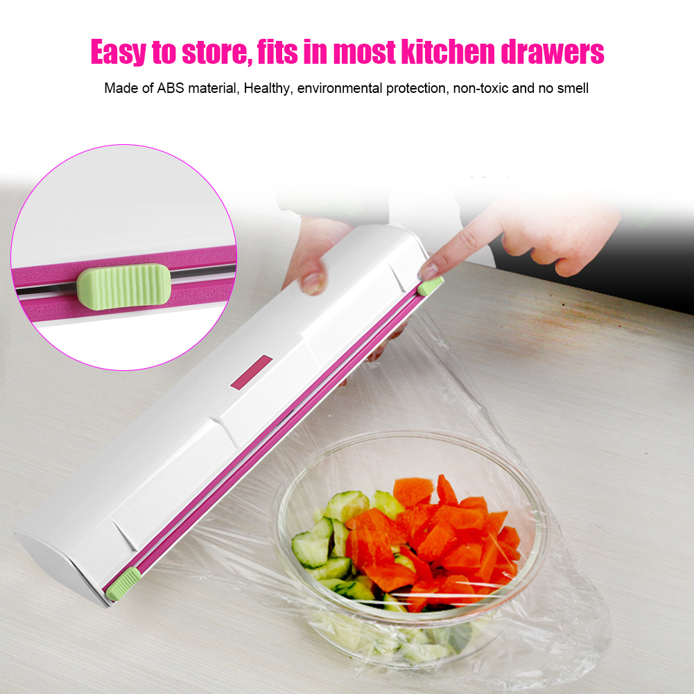 Food Wrap Dispenser, Plastic Wrap Cutter, Foil and Cling Film Cutter Plastic Storage Holder Kitchen Accessories