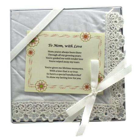 To Mom, with Love Decorative Keepsake Handkerchief - By - Mother Hankie