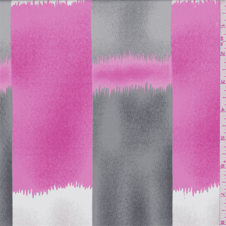 Deep Pink/Grey Brush Stroke Stripe Charmeuse, Fabric Sold By the Yard