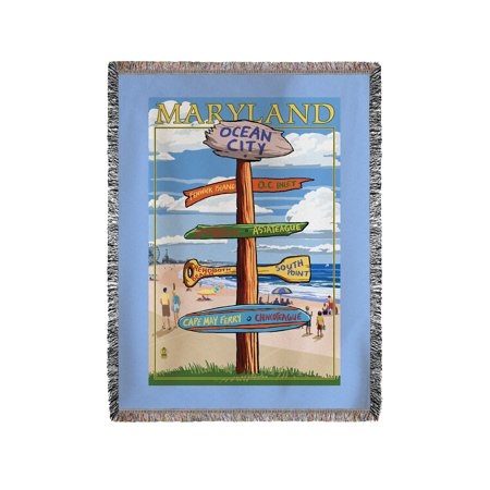 Ocean City  Maryland   Destinations Sign   Lantern Press Artwork  60X80 Woven Chenille Yarn Blanket
