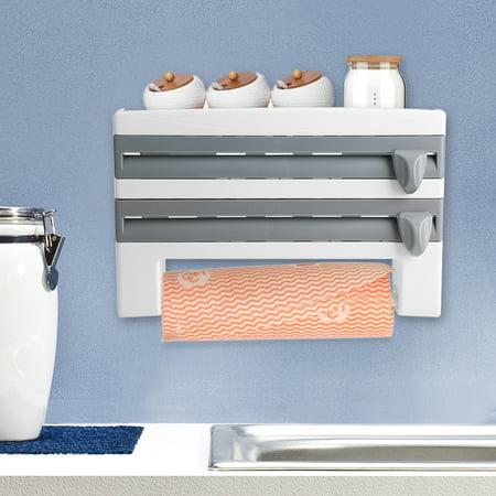 Kitchen Cling Film Rack,Kitchen Sauce Bottle Storage Rack Paper Towel Holder Mount Kitchen Tool Cling Film Cut ()