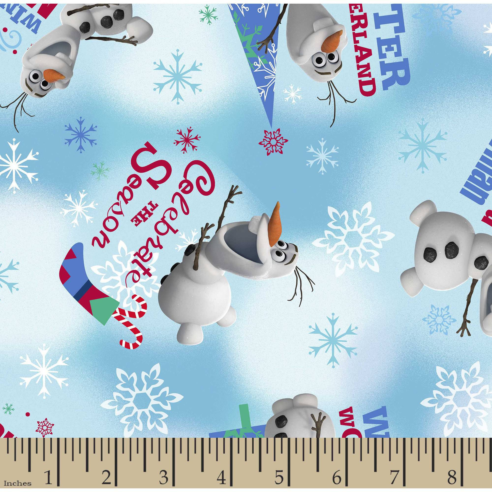 """Christmas Frozen Olaf Winter Wonderland Cotton Fabric By The Yard, Blue, 43/44"""" Wide"""
