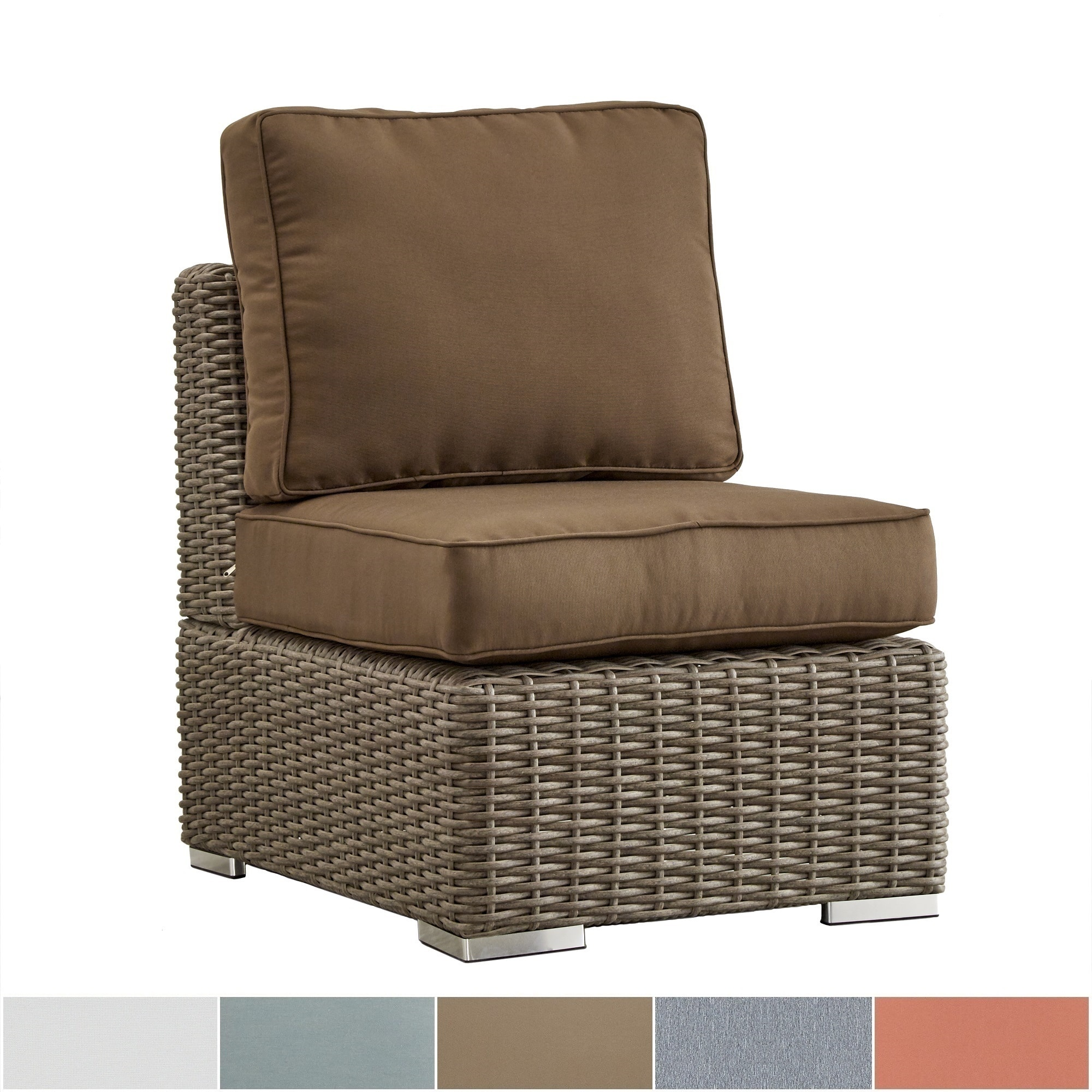 HomeVance iNSPIRE Q Barbados Wicker Outdoor Cushioned Brown Mocha Sectional Middle Chair Oasis