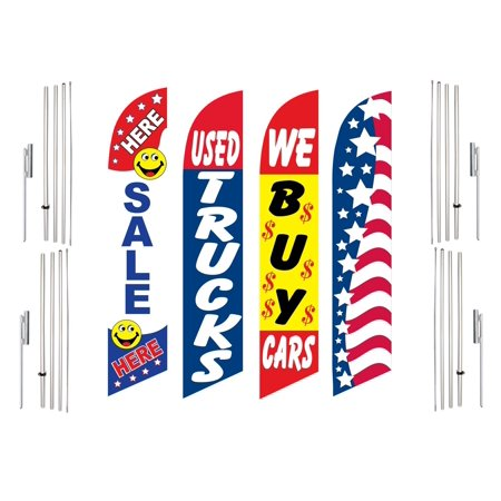 4 Swooper Flags With 4 Pole Kits Sale Here Used Trucks We Buy Cars Patriotic