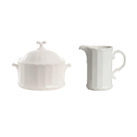 Red Vanilla Yardley Covered Sugar Bowl And Creamer