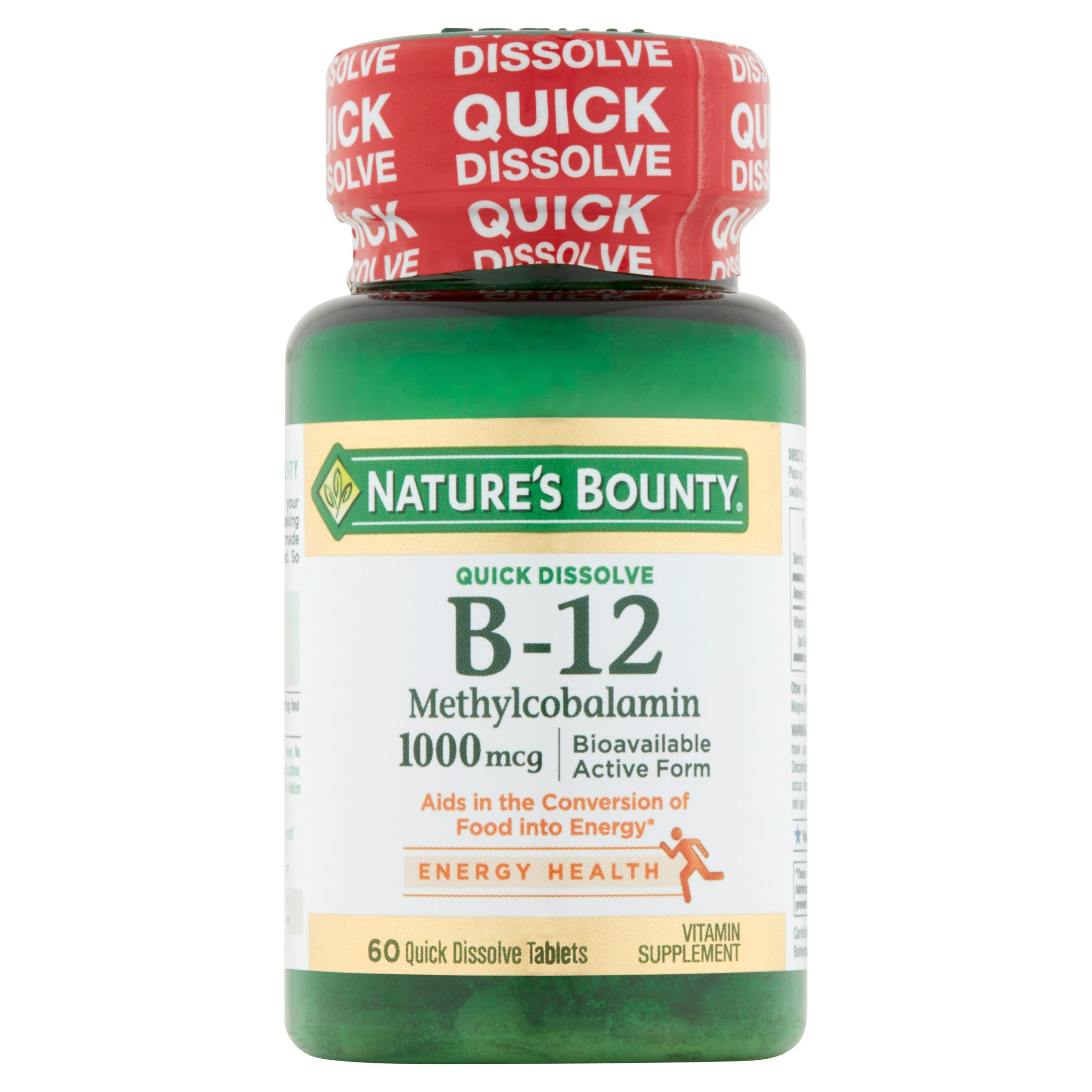 Nature's Bounty B-12 Methylcobalamin 1000 Mcg Quick Dissolve Tablet, 60 Ct