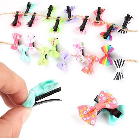 10Pcs/lot Hair Clips Fashion Girls Kids Candy Color Dot Flower Print Ribbon Bow Hairpin Kids Hair Accessories - Print Clip
