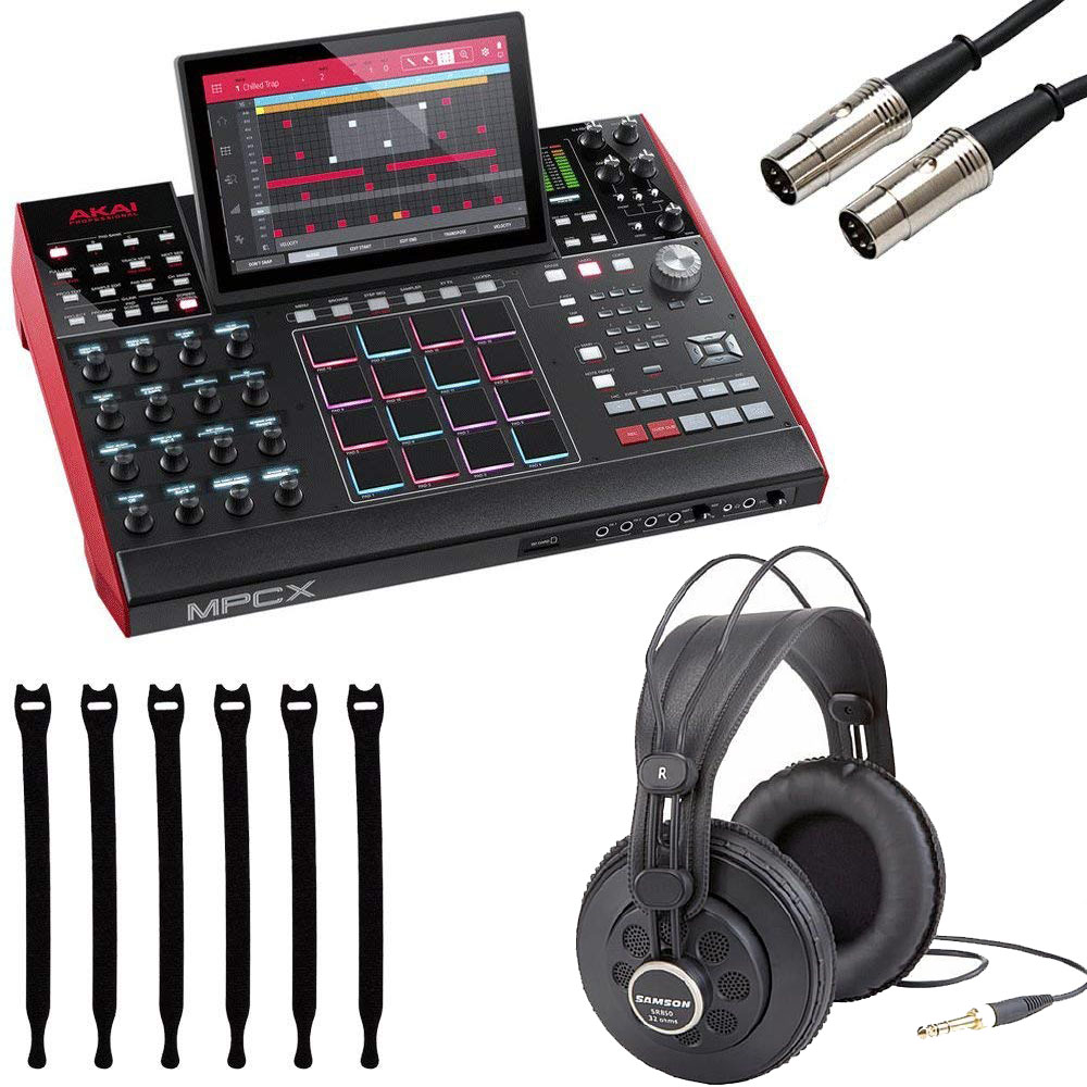 """Akai Professional MPC X   Standalone MPC with 10.1"""" High-Resolution, Adjustable, Multi-Touch Display + Professional Headphones + MIDI Cable + Strapeez - Top Value Bundle"""