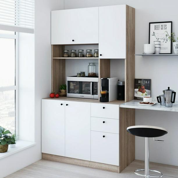 Living Skog Pantry Kitchen Storage Cabinet Large White Natural Walmart Com Walmart Com