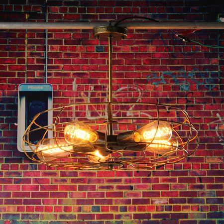Retro Industrial Fan Style Metal Cage Ceiling Light, 5 Lights Semi Flush Mount Rustic Pendant Light Lamp Hanging Light Fixture E27 Bulb Base For Indoor Lighting